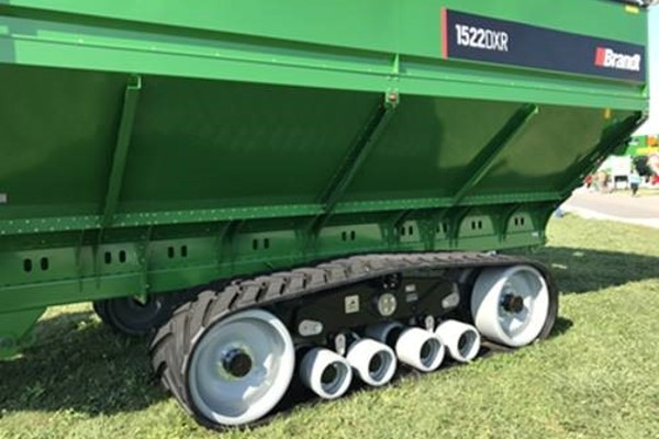 Brandt 1500 bushed grain cart on tracks