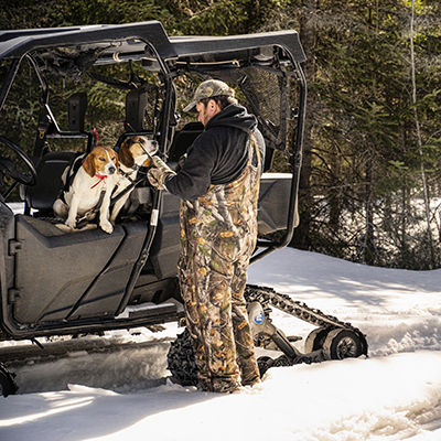 Camso Track system Hunting dogs side by side snow trees Mosaic tile 400x400